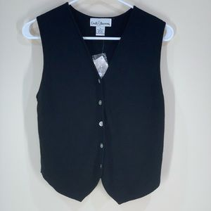 NWT Croft & Barrow Black Small Misses Button Vest